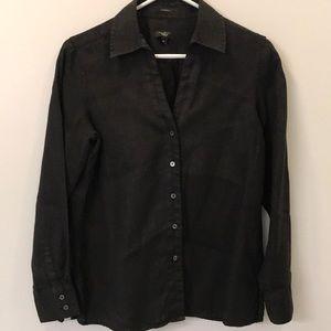 Talbots black linen button down size 8P